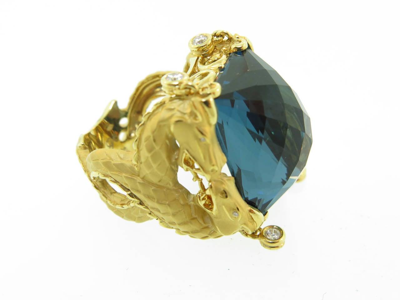 Carrera & Carrera Blue Topaz Diamond Gold Nankin Cocktail Ring 3