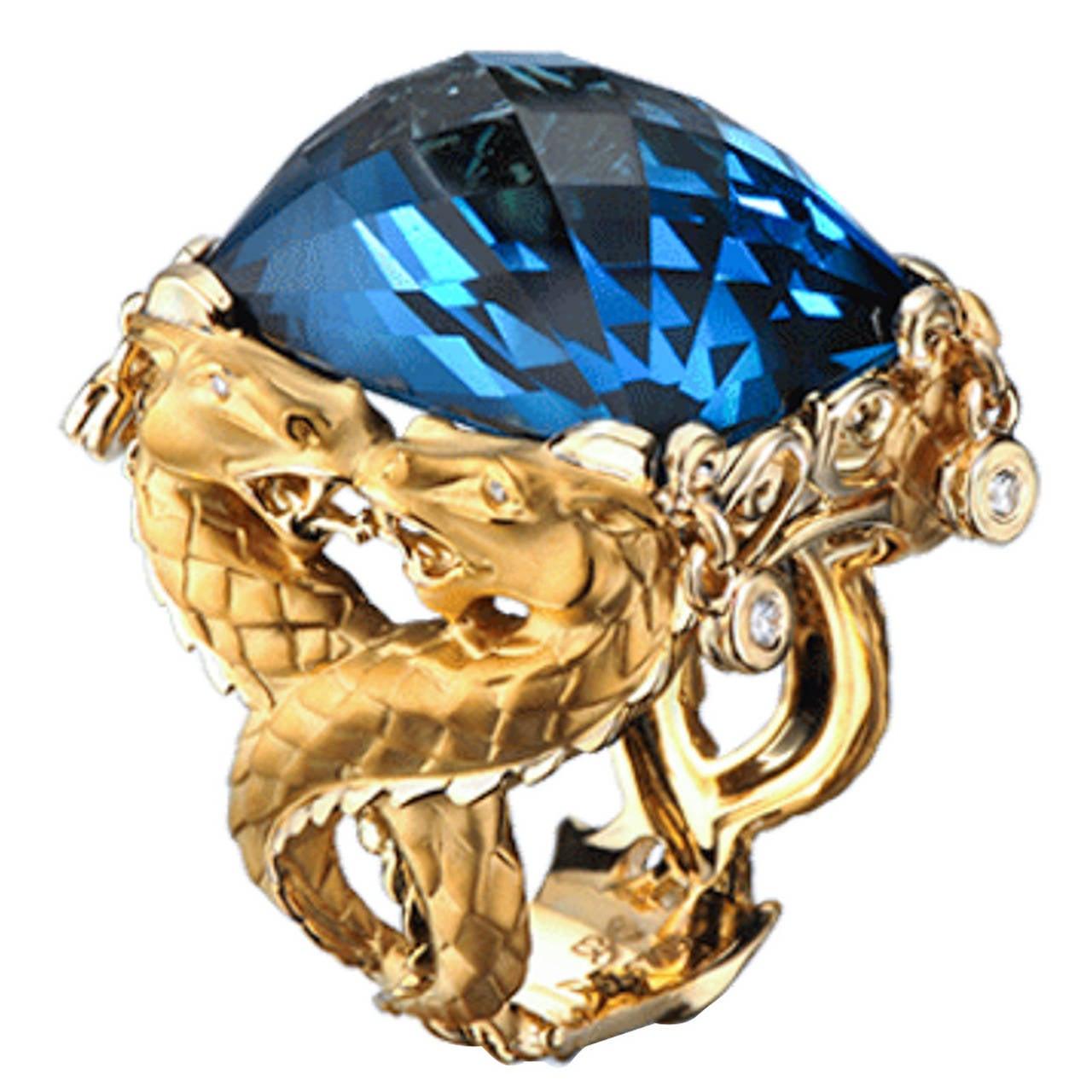 Carrera & Carrera Blue Topaz Diamond Gold Nankin Cocktail Ring 1