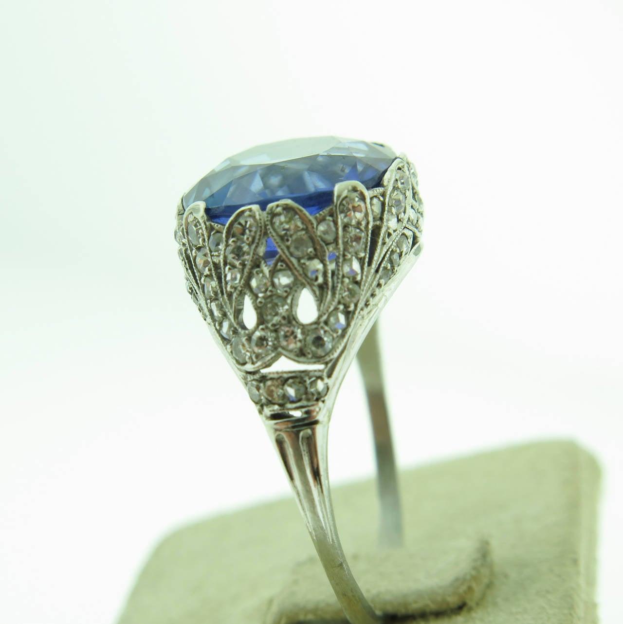 1920s Sapphire Diamond  filigree Platinum Ring 6