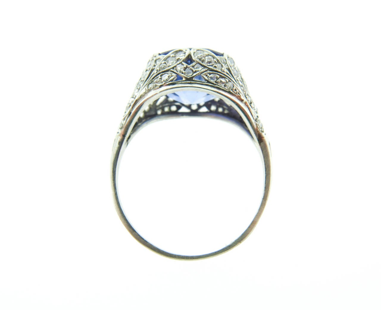 1920s Sapphire Diamond  filigree Platinum Ring 3