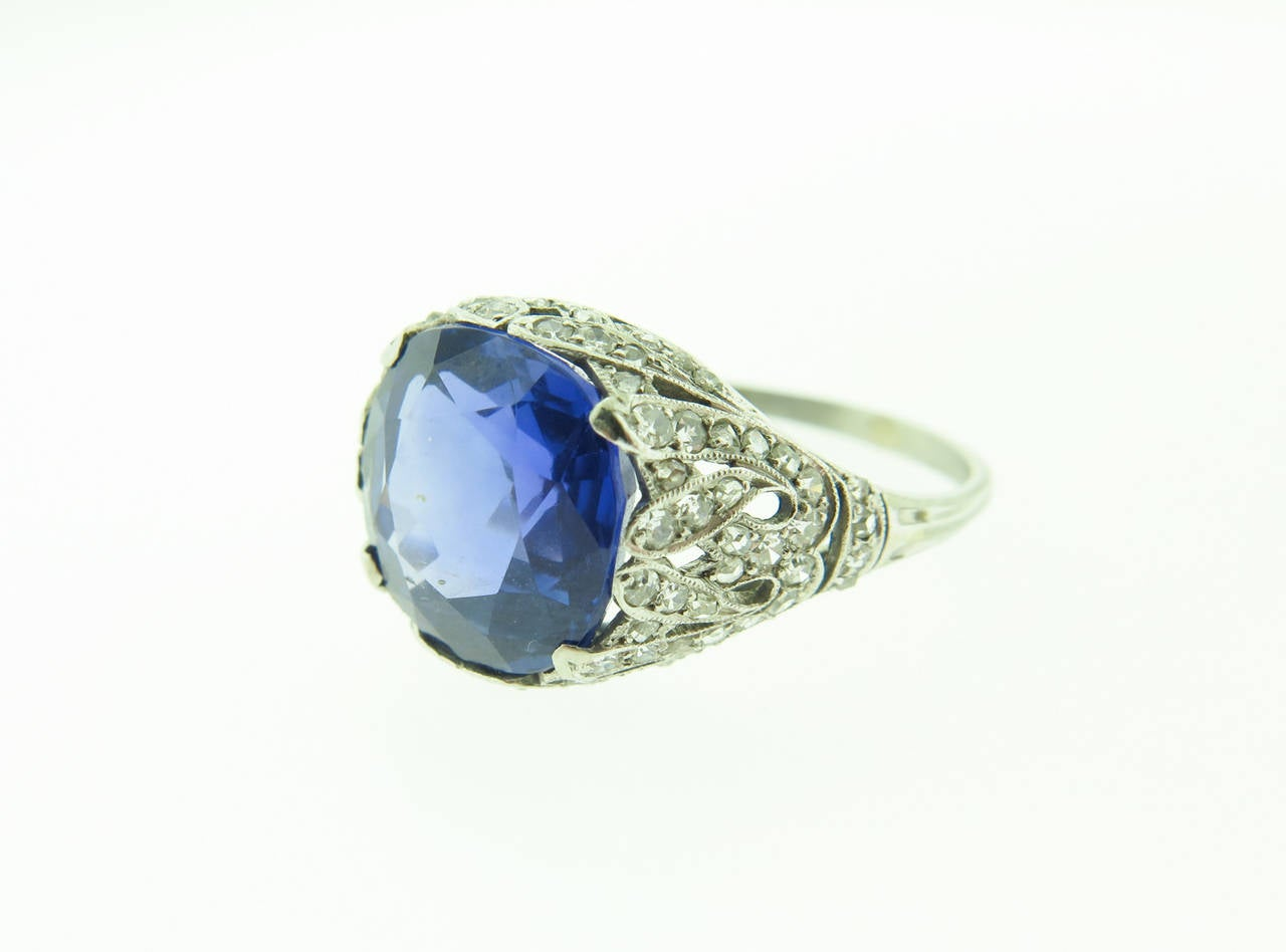1920s Sapphire Diamond  filigree Platinum Ring 5