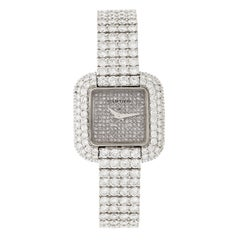Cartier Ladies White Gold Pave Diamond Manual Wristwatch