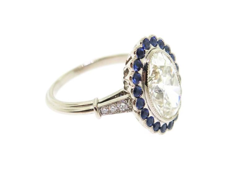 Stunning 3.37 Carat Oval Diamond Sapphire Gold Ring 4