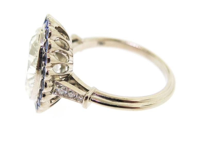 Stunning 3.37 Carat Oval Diamond Sapphire Gold Ring 3