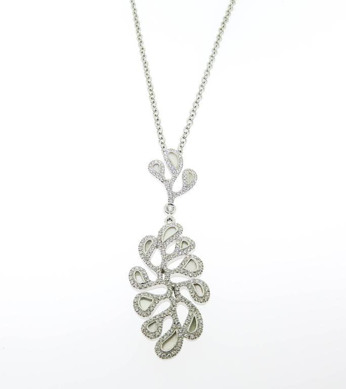 Mother of Pearl Diamond gold Sea Leaf Pendant 2