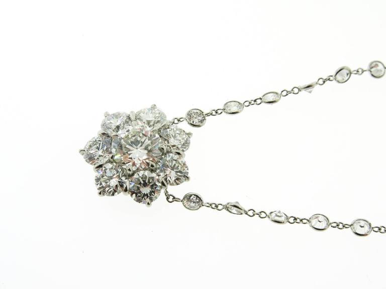Platinum Flower Diamond Cluster Necklace For Sale 1