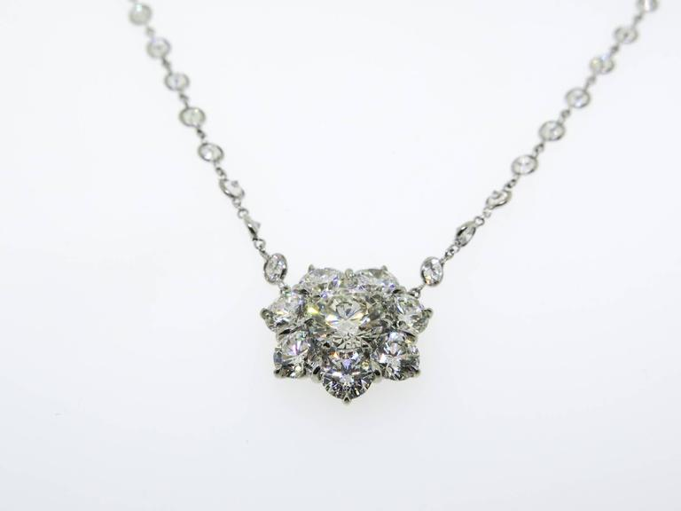 Artist Platinum Flower Diamond Cluster Necklace For Sale