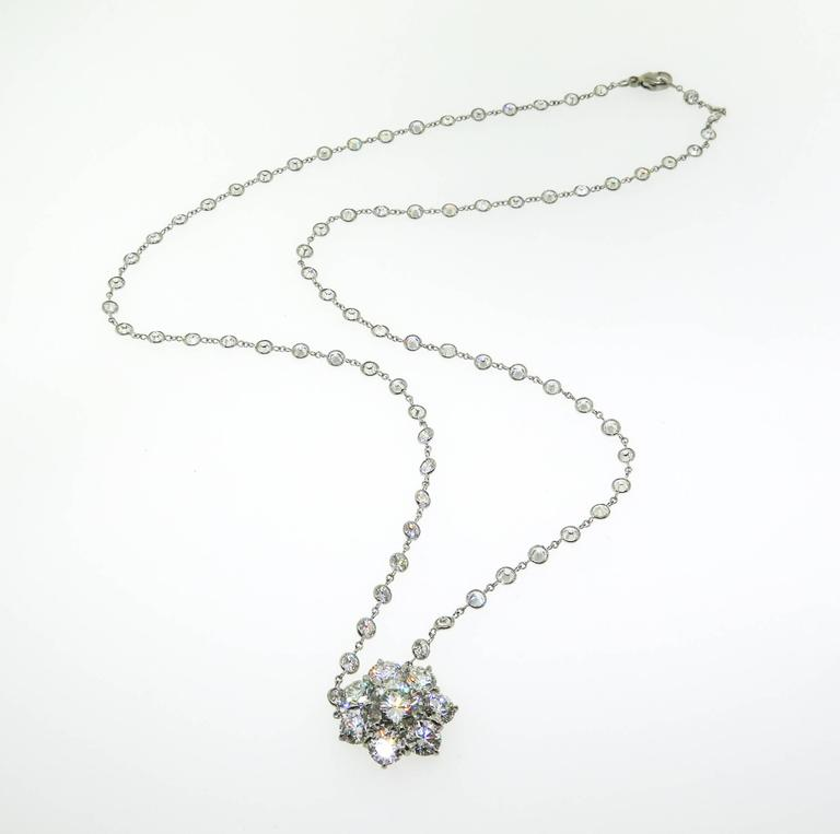 Platinum Flower Diamond Cluster Necklace For Sale 2