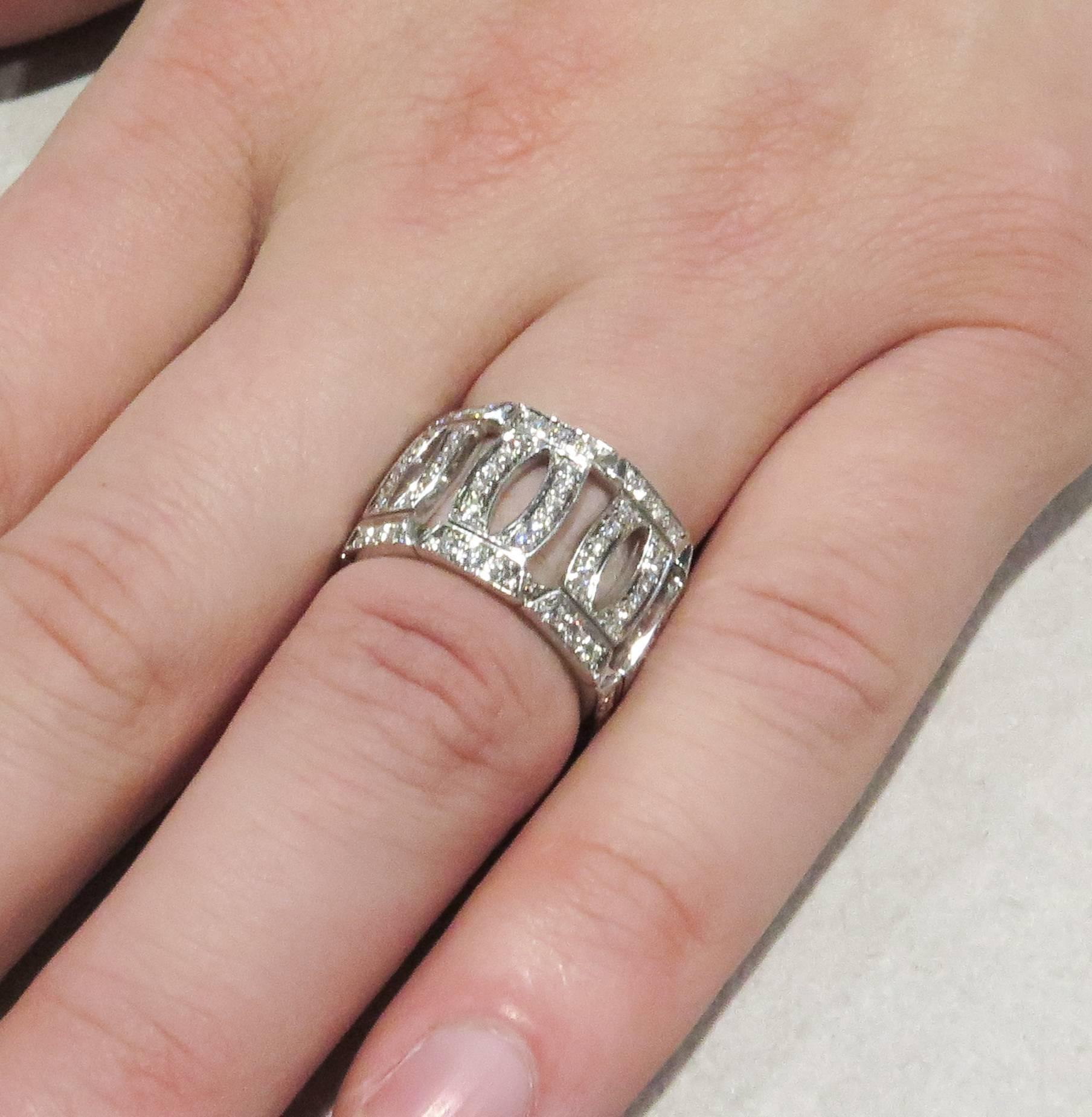 Franck Muller Curvex Diamond Gold Band Ring at 1stdibs