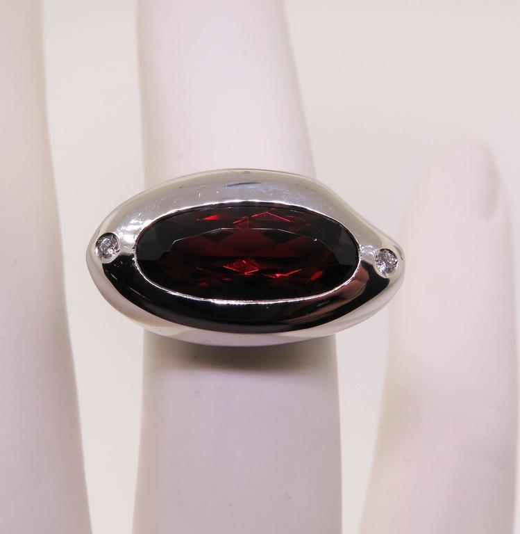 Manfredi Garnet Diamond Gold Ring For Sale 1