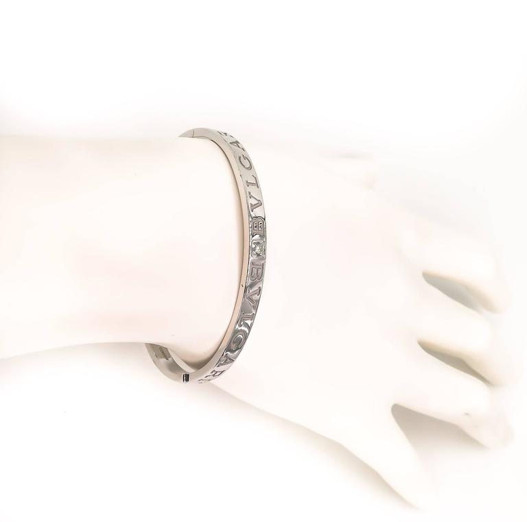 Bulgari Bulgari White Gold Bangle Bracelet In As new Condition For Sale In Greenwich, CT