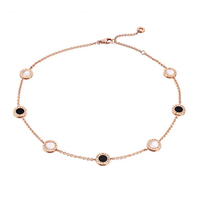 Rose Gold Mother of Pearl & Onyx Necklace by Bulgari