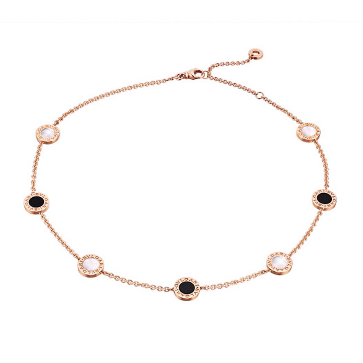Bulgari more necklaces 47 for sale at 1stdibs rose gold mother of pearl amp onyx necklace by bulgari mozeypictures Image collections