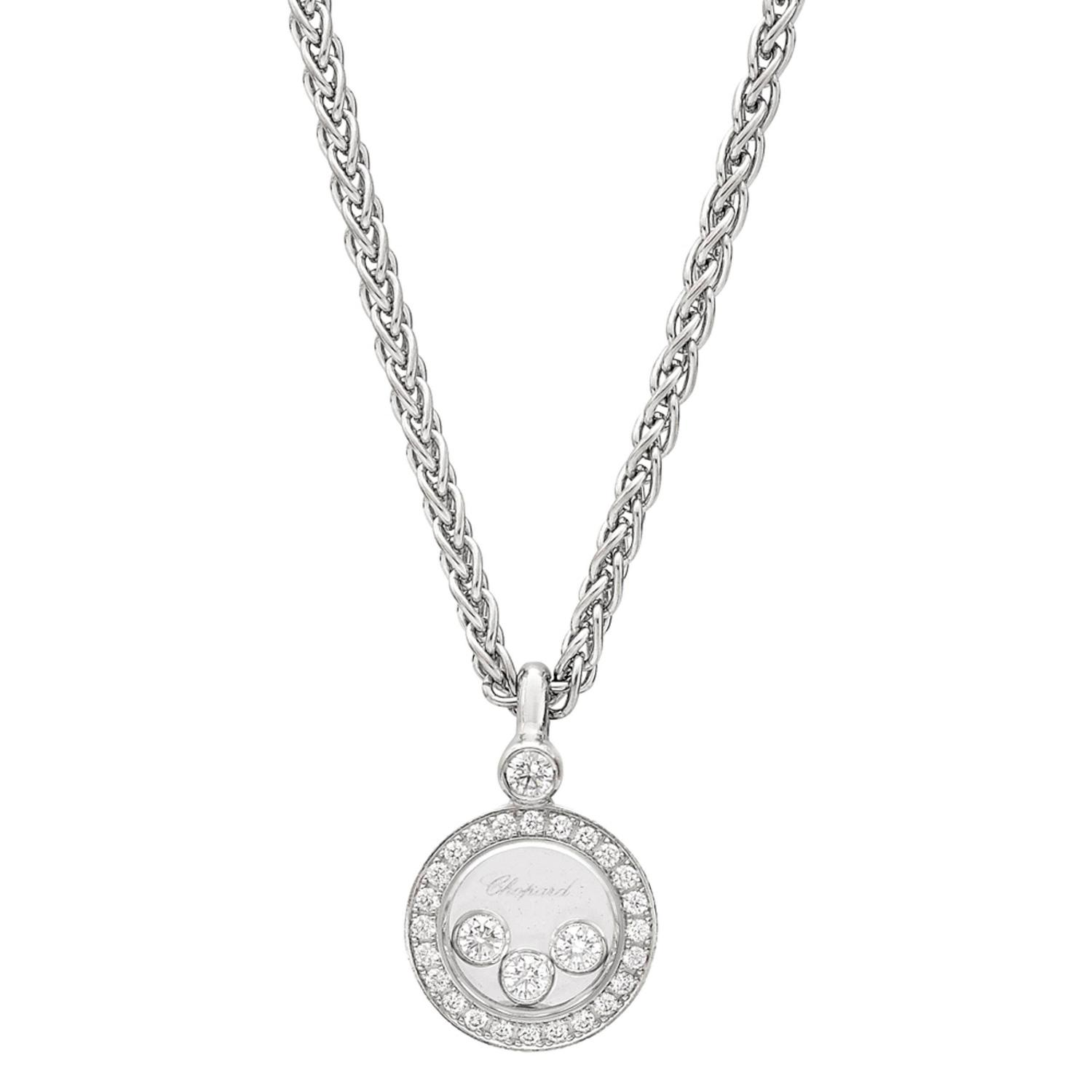 White Gold Happy Diamonds Pendant by Chopard For Sale at 1stdibs