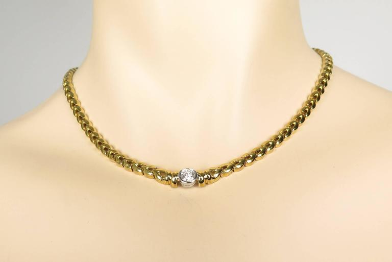 Women's Yellow Gold Diamond Necklace For Sale