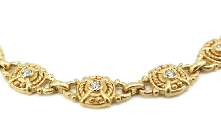 Artist Judith Ripka Diamond Gold Necklace For Sale