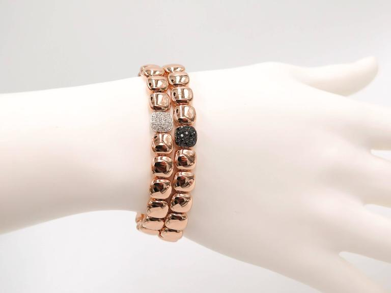 black Diamond Rose Gold Bracelet In As New Condition For Sale In Greenwich, CT