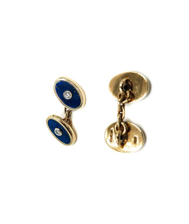 Cartier Lapis Lazuli and Diamond Yellow Gold Cufflinks In Excellent Condition For Sale In Greenwich, CT