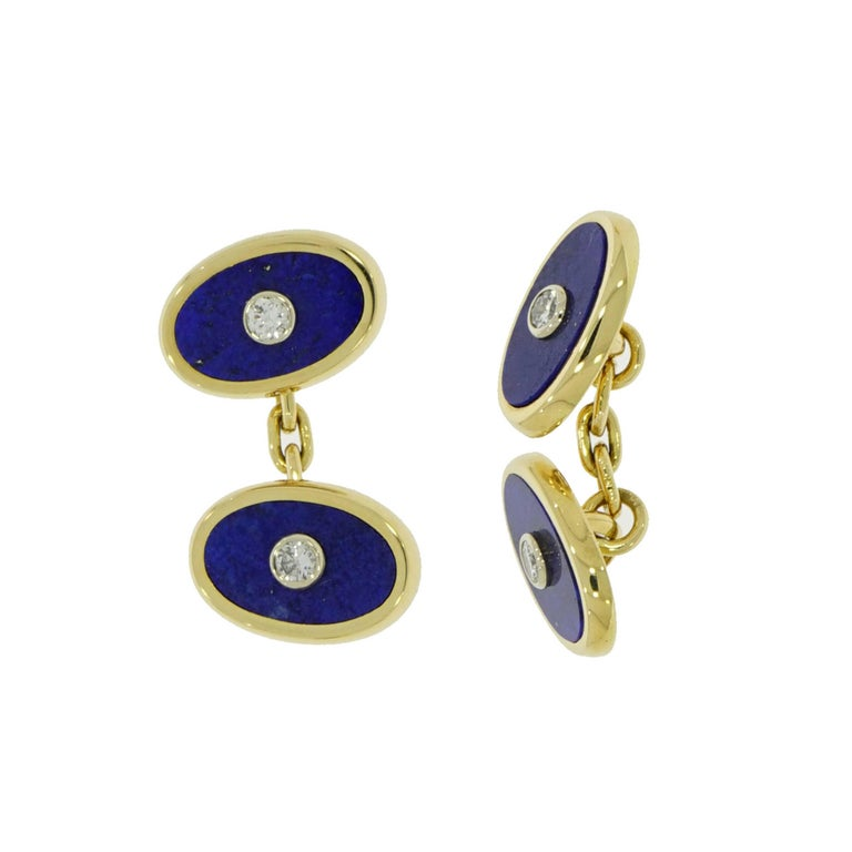 Modern Cartier Lapis Lazuli and Diamond Yellow Gold Cufflinks For Sale