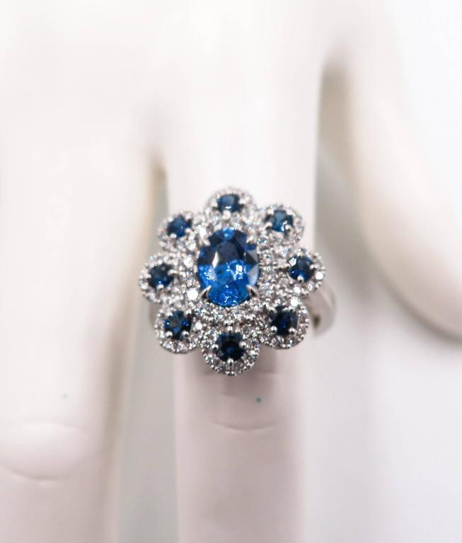 Sapphire Diamond Flower white gold Ring For Sale 3