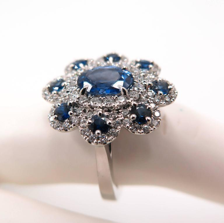 Sapphire Diamond Flower white gold Ring For Sale 4