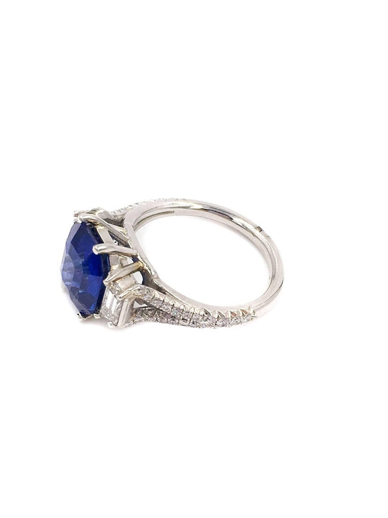 Sapphire And Diamond Platinum Ring For Sale At 1stdibs