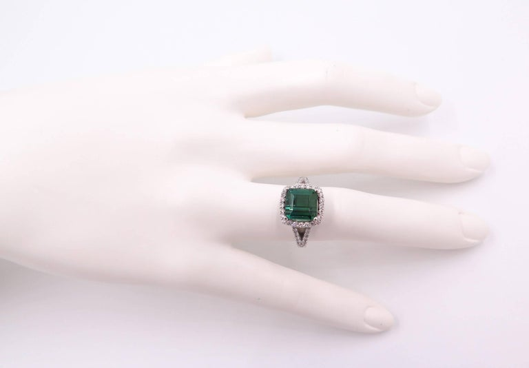 Green Tourmaline Diamond White Gold Ring For Sale 5