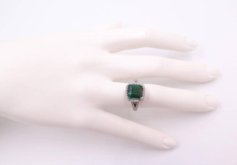 Green Tourmaline Diamond White Gold Ring 10