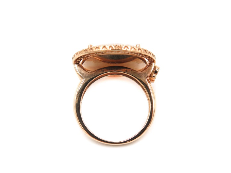 Artist Rose Gold Openwork Mother-of-Pearl Diamond Ring For Sale