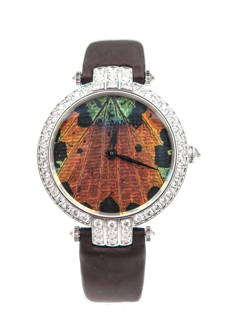 Modern Harry Winston Ladies White Gold Precious Butterfly Automatic Wristwatch For Sale