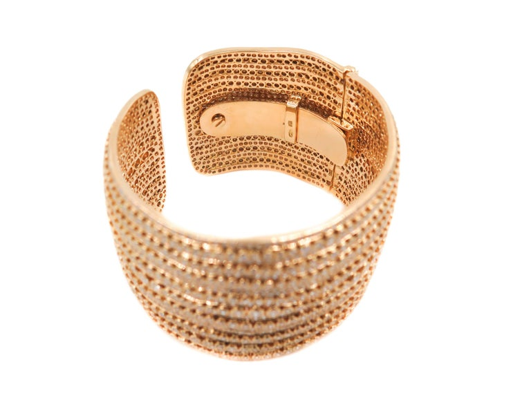 Modern Diamond Yellow Gold Cuff Bracelet For Sale