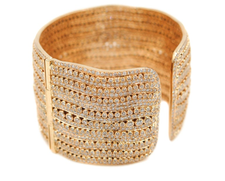 Diamond Yellow Gold Cuff Bracelet For Sale 2