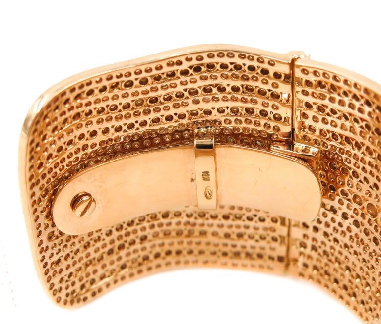 Diamond Yellow Gold Cuff Bracelet For Sale 3