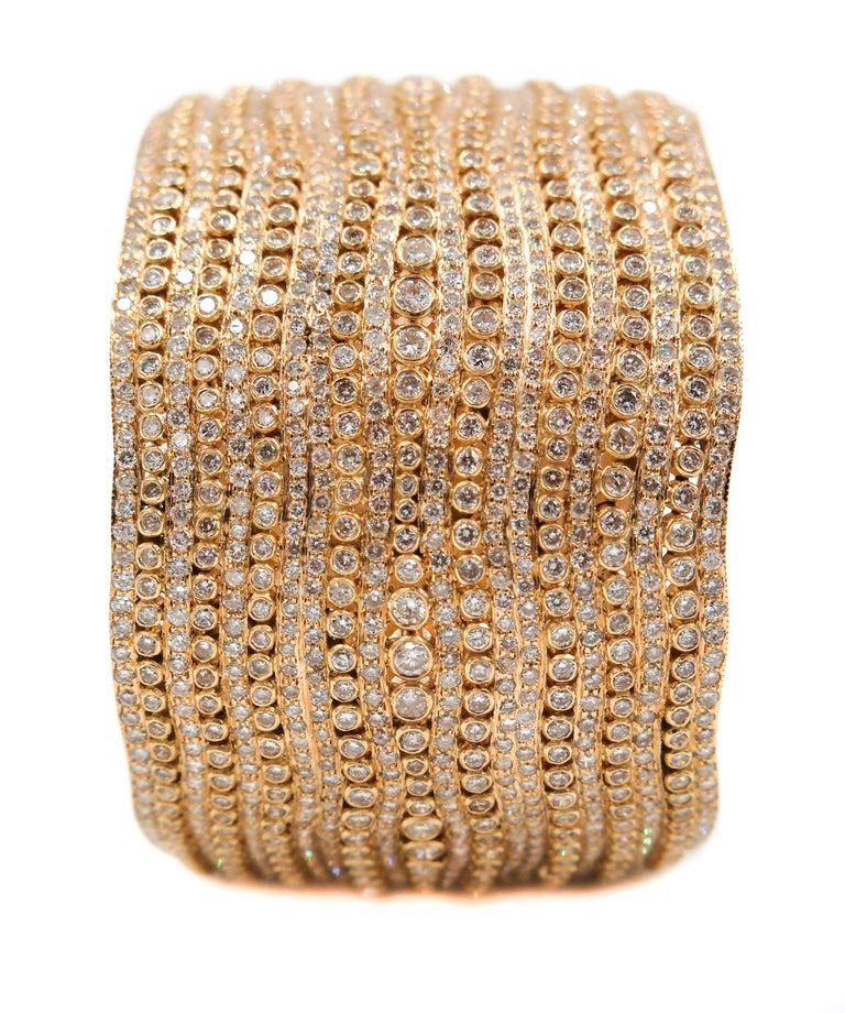 Diamond Yellow Gold Cuff Bracelet For Sale 4