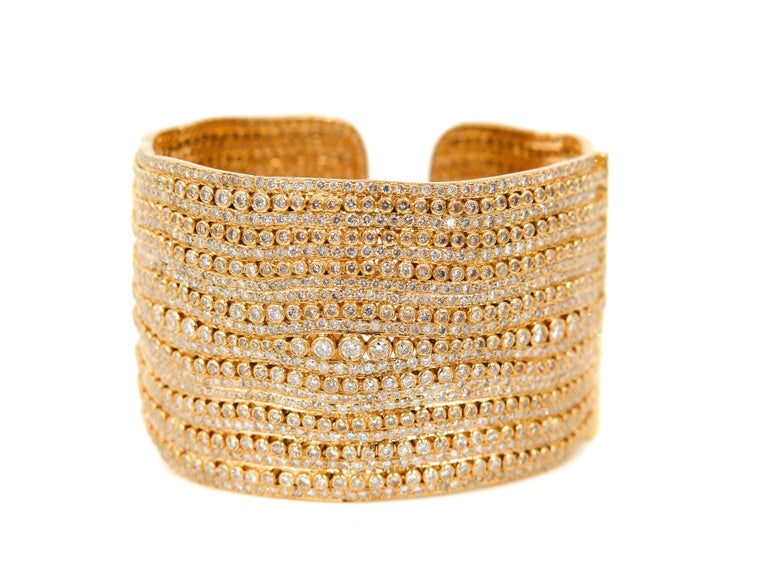 Women's Diamond Yellow Gold Cuff Bracelet For Sale