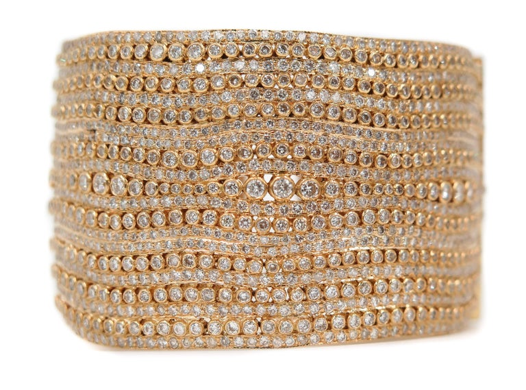Diamond Yellow Gold Cuff Bracelet For Sale 1