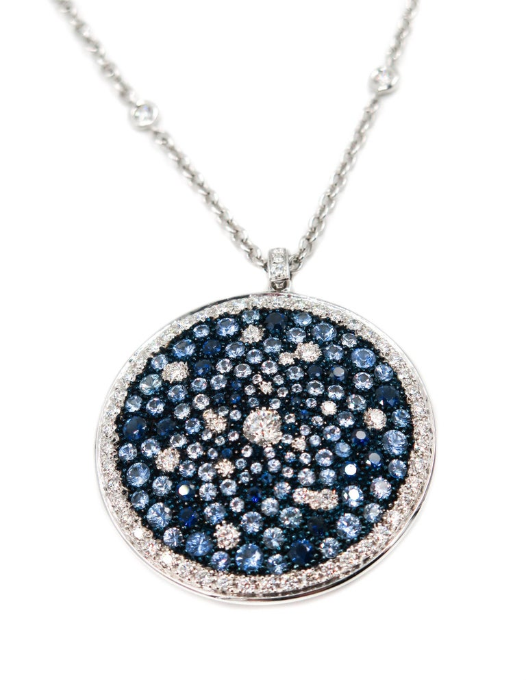 Round Multi-Color Sapphire and Diamond White Gold Pendant 3