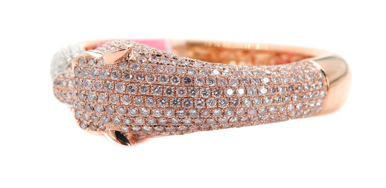 Women's Natural Pink Diamond Panther Rose Gold Cuff Bracelet For Sale