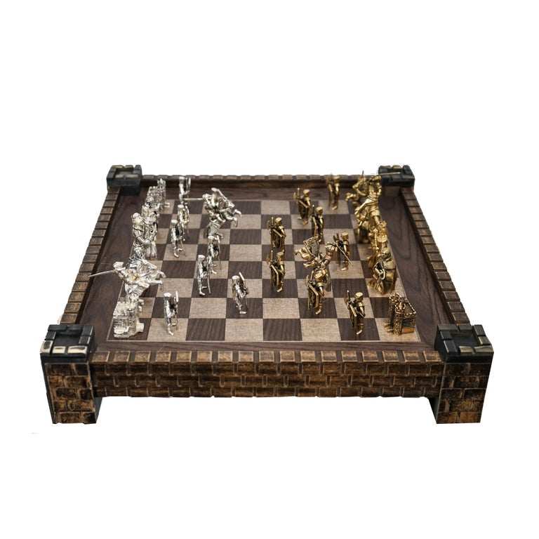 Chess Set in Solid Yellow Gold and Sterling Silver