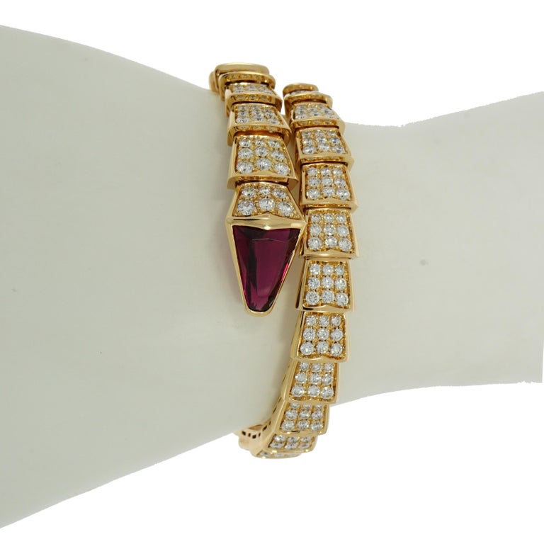 Round Cut Bvlgari Serpenti Rose Gold Diamond Bracelet For Sale
