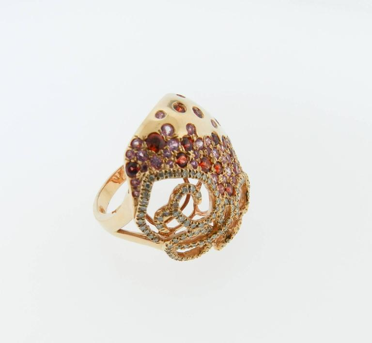 Sapphire Diamond Gold Cocktail Ring 4
