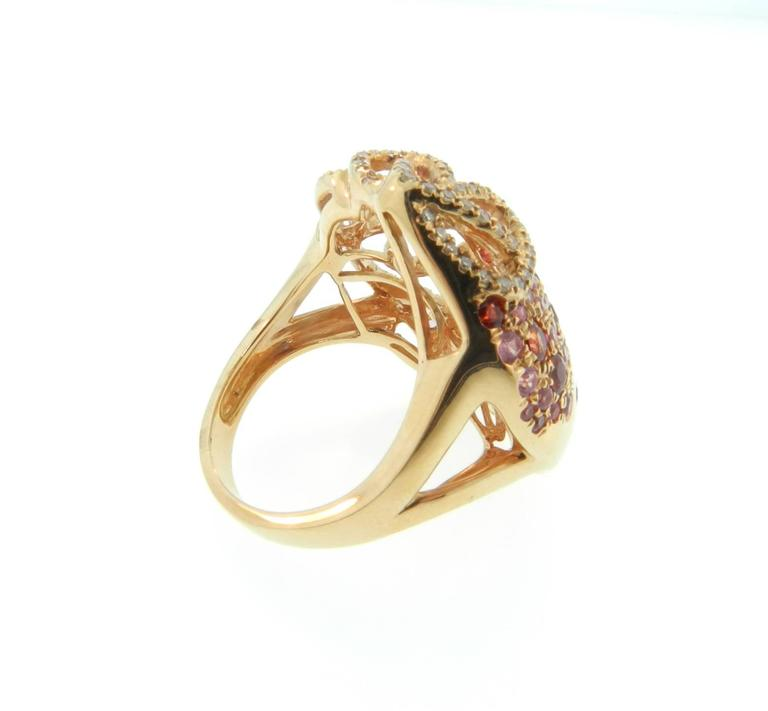 Sapphire Diamond Gold Cocktail Ring 8