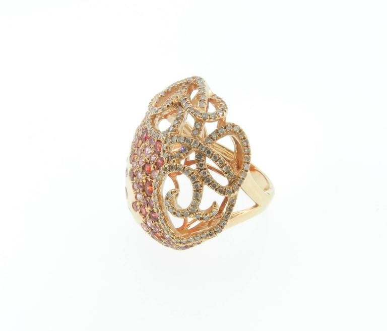 Sapphire Diamond Gold Cocktail Ring 6