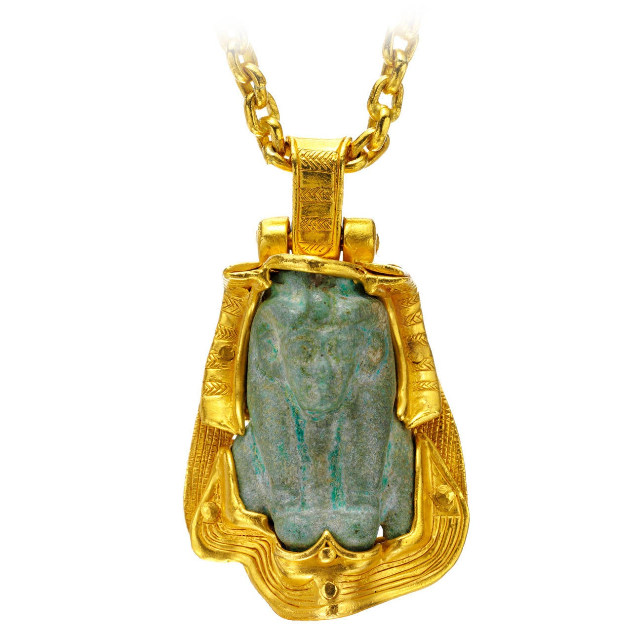 Egyptian Faience Bust Of Isis Pendant Gold Pendant