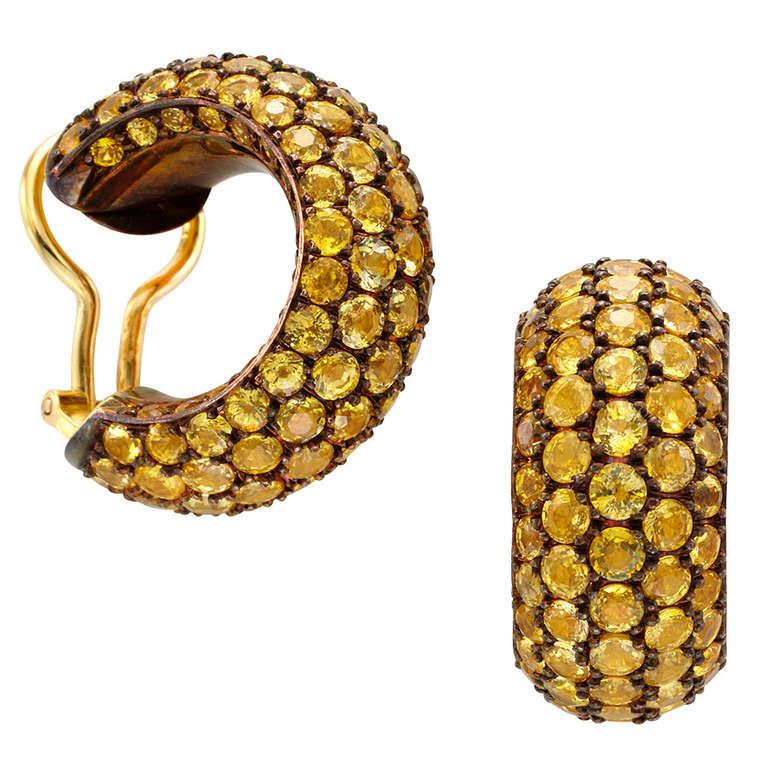 hemmerle yellow sapphire copper gold hoop earrings at 1stdibs