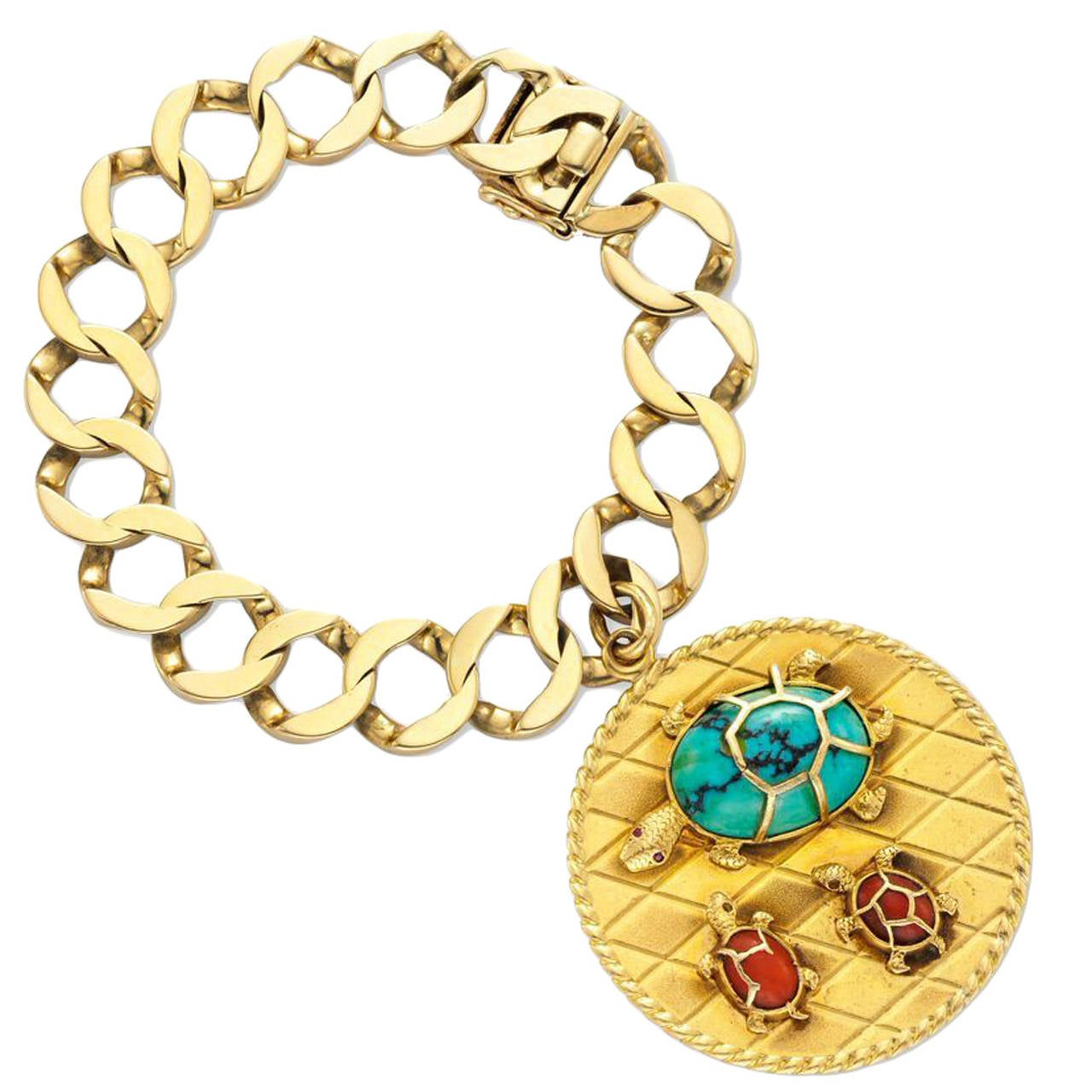 cartier turquoise enamel and gold turtle charm bracelet