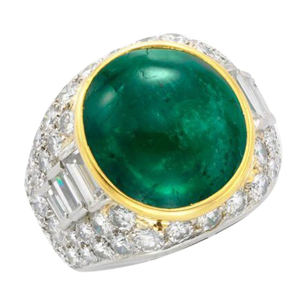 bulgari cabochon emerald diamond ring at 1stdibs