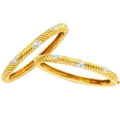 Van Cleef & Arpels Pair Diamond Gold Bangle Bracelets