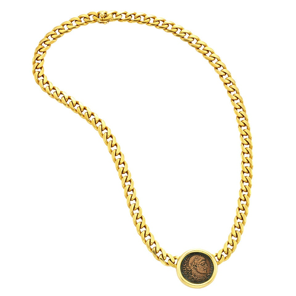 bulgari gold and ancient coin necklace at 1stdibs