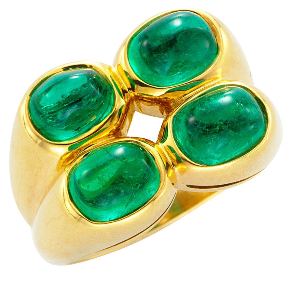 bulgari emerald gold ring at 1stdibs
